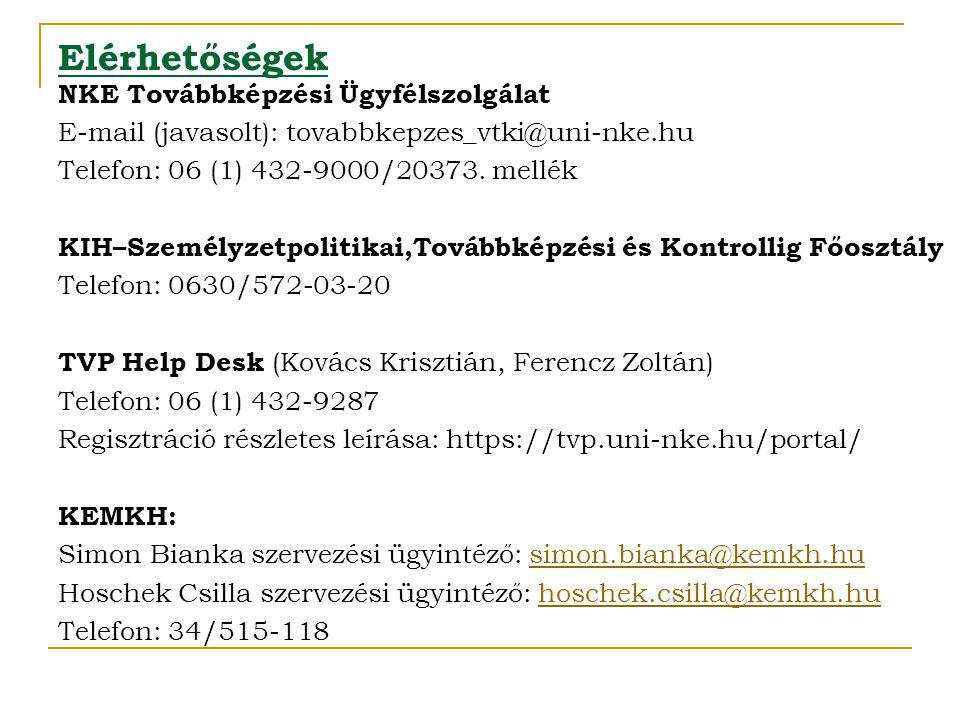 Elérhetőségek NKE Továbbképzési Ügyfélszolgálat E-mail (javasolt): tovabbkepzes_vtki@uni-nke.hu Telefon: 06 (1) 432-9000/20373. mellék KIH–Személyzetp