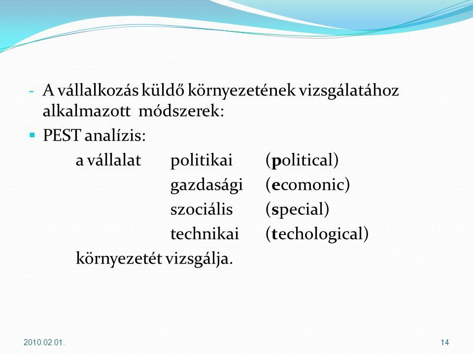 - A vállalkozás küldő környezetének vizsgálatához alkalmazott módszerek:  PEST analízis: a vállalatpolitikai (political) gazdasági (ecomonic) szociális(special) technikai(techological) környezetét vizsgálja.