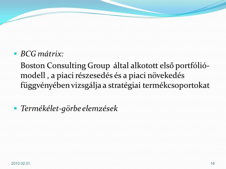  BCG mátrix: Boston Consulting Group által alkotott első portfólió- modell, a piaci részesedés és a piaci növekedés függvényében vizsgálja a stratégiai termékcsoportokat  Termékélet-görbe elemzések 2010.02.01.16
