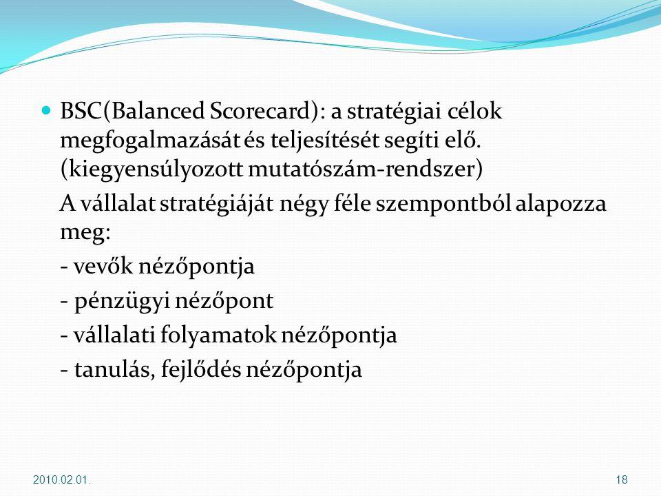  BSC(Balanced Scorecard): a stratégiai célok megfogalmazását és teljesítését segíti elő.