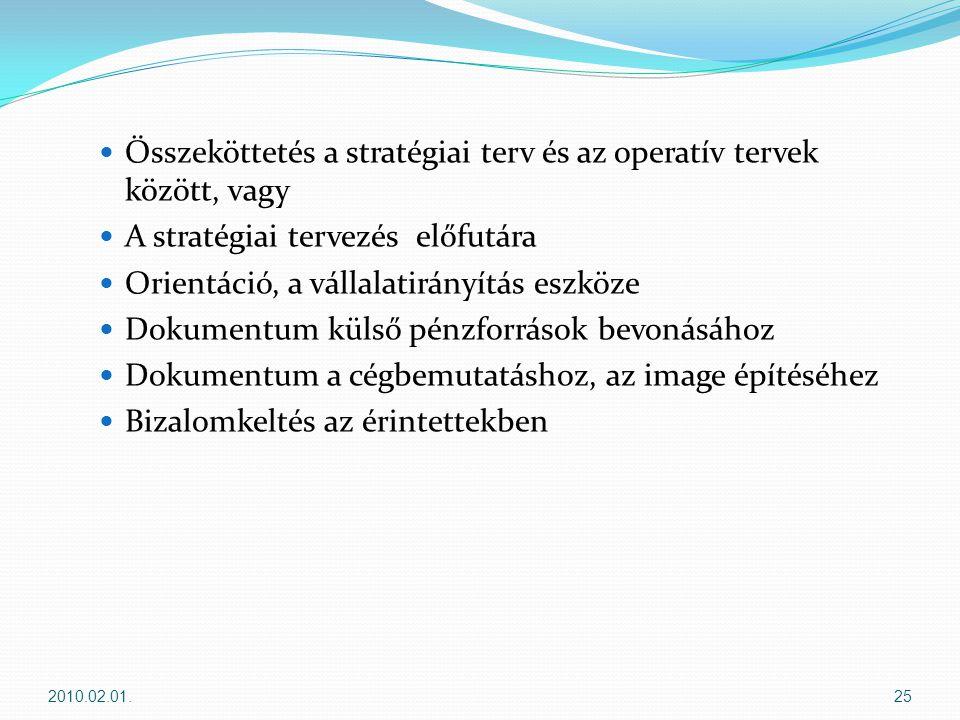  Összeköttetés a stratégiai terv és az operatív tervek között, vagy  A stratégiai tervezés előfutára  Orientáció, a vállalatirányítás eszköze  Dokumentum külső pénzforrások bevonásához  Dokumentum a cégbemutatáshoz, az image építéséhez  Bizalomkeltés az érintettekben 2010.02.01.25
