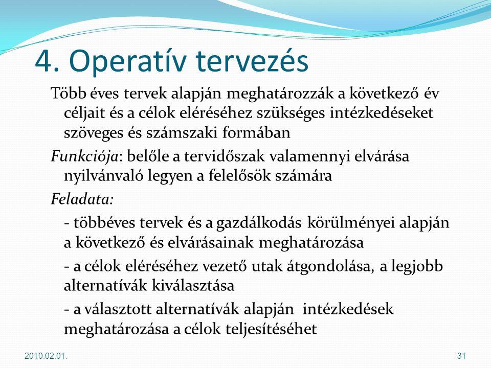 4. Operatív tervezés Több éves tervek alapján meghatározzák a következő év céljait és a célok eléréséhez szükséges intézkedéseket szöveges és számszak