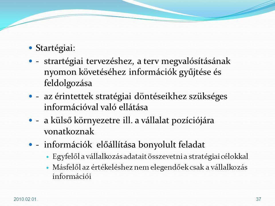  Startégiai:  - strartégiai tervezéshez, a terv megvalósításának nyomon követéséhez információk gyűjtése és feldolgozása  - az érintettek stratégiai döntéseikhez szükséges információval való ellátása  -a külső környezetre ill.