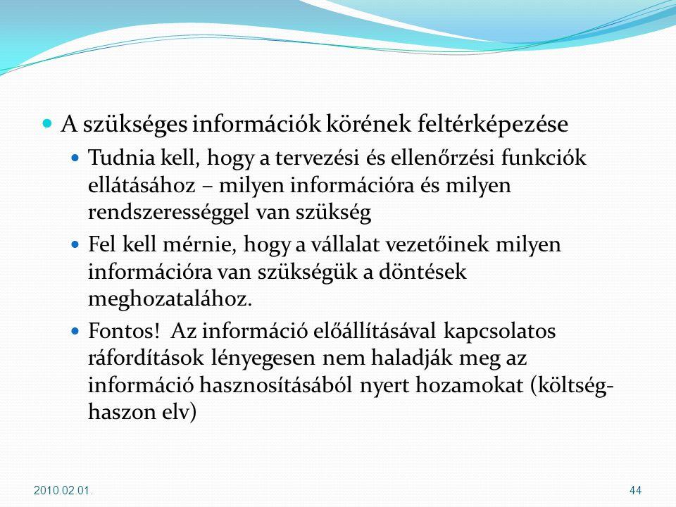  A szükséges információk körének feltérképezése  Tudnia kell, hogy a tervezési és ellenőrzési funkciók ellátásához – milyen információra és milyen rendszerességgel van szükség  Fel kell mérnie, hogy a vállalat vezetőinek milyen információra van szükségük a döntések meghozatalához.