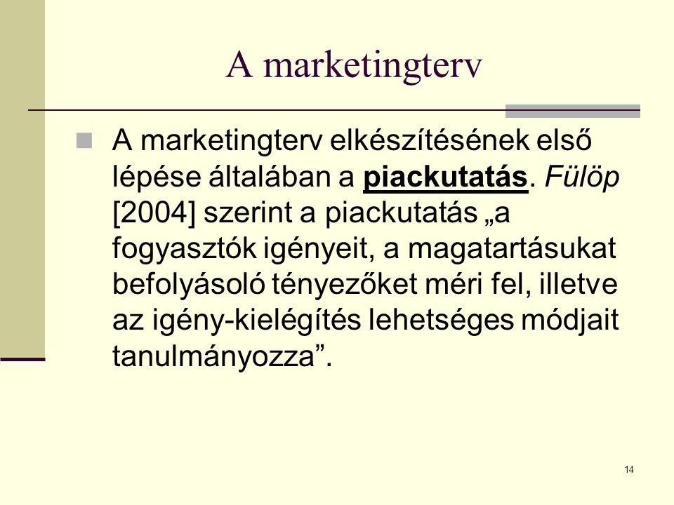 """14 A marketingterv  A marketingterv elkészítésének első lépése általában a piackutatás. Fülöp [2004] szerint a piackutatás """"a fogyasztók igényeit, a"""