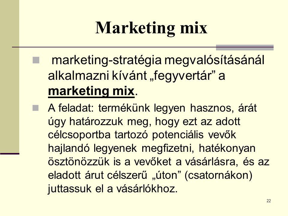 """22 Marketing mix  marketing-stratégia megvalósításánál alkalmazni kívánt """"fegyvertár"""" a marketing mix.  A feladat: termékünk legyen hasznos, árát úg"""