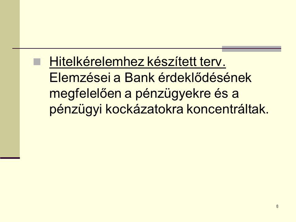 8  Hitelkérelemhez készített terv. Elemzései a Bank érdeklődésének megfelelően a pénzügyekre és a pénzügyi kockázatokra koncentráltak.