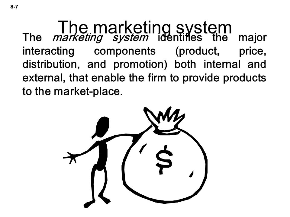 The marketing system identifies the major interacting components (product, price, distribution, and promotion) both internal and external, that enable