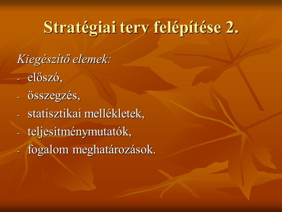Stratégiai terv felépítése 2. Kiegészítő elemek: - előszó, - összegzés, - statisztikai mellékletek, - teljesítménymutatók, - fogalom meghatározások.