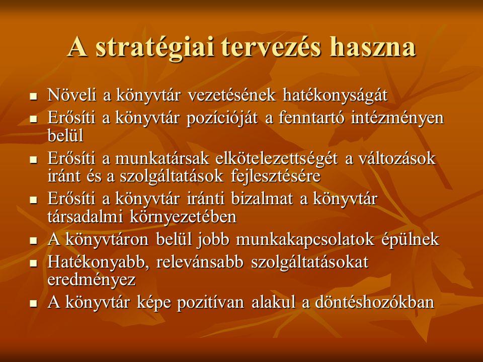 A stratégiai tervezés haszna  Növeli a könyvtár vezetésének hatékonyságát  Erősíti a könyvtár pozícióját a fenntartó intézményen belül  Erősíti a m