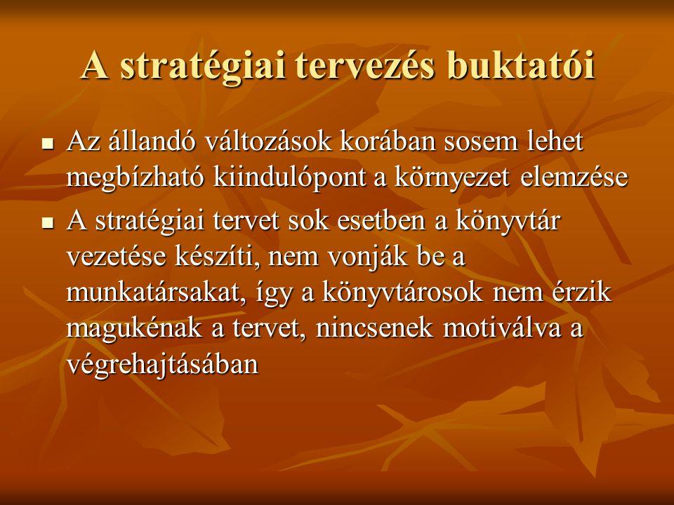 A stratégiai tervezés buktatói  Az állandó változások korában sosem lehet megbízható kiindulópont a környezet elemzése  A stratégiai tervet sok eset