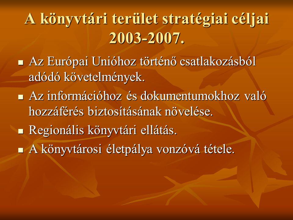 A könyvtári terület stratégiai céljai 2003-2007.  Az Európai Unióhoz történő csatlakozásból adódó követelmények.  Az információhoz és dokumentumokho