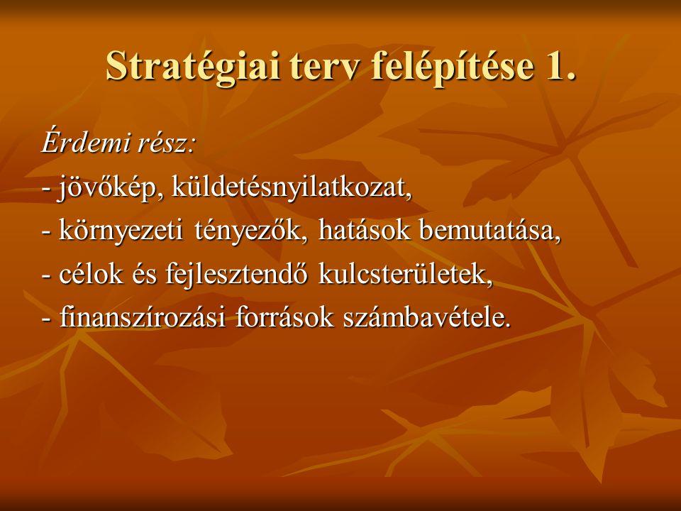 Stratégiai terv felépítése 1. Érdemi rész: - jövőkép, küldetésnyilatkozat, - környezeti tényezők, hatások bemutatása, - célok és fejlesztendő kulcster