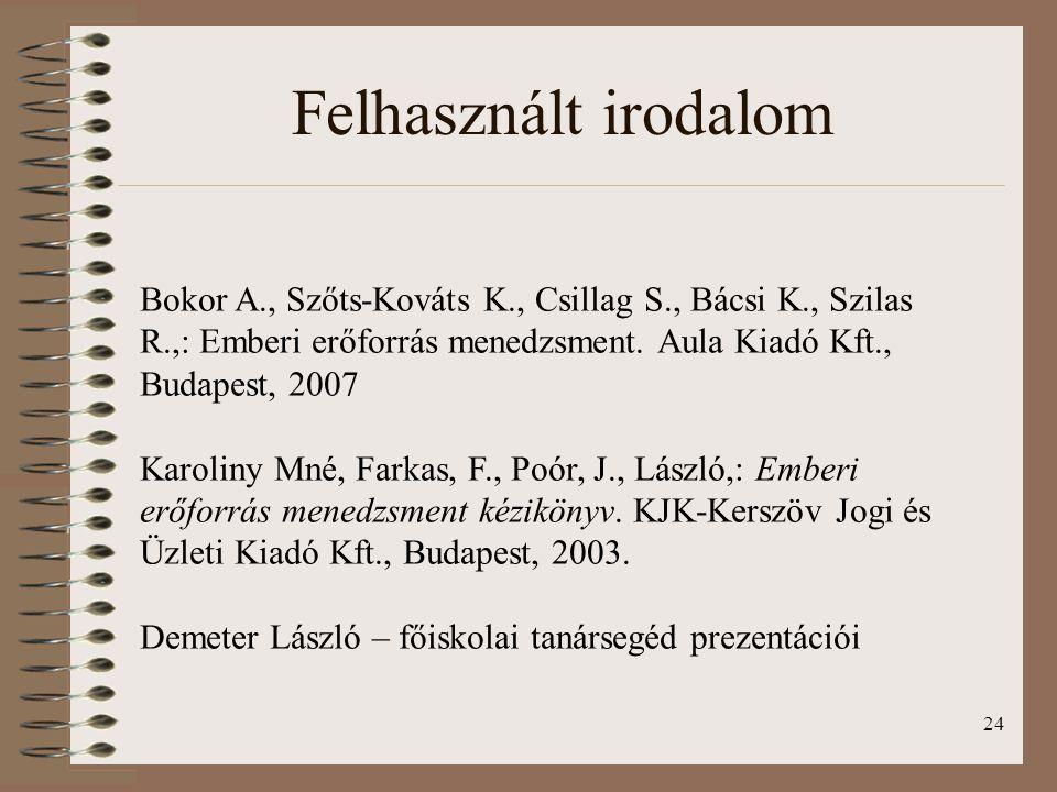 24 Felhasznált irodalom Bokor A., Szőts-Kováts K., Csillag S., Bácsi K., Szilas R.,: Emberi erőforrás menedzsment. Aula Kiadó Kft., Budapest, 2007 Kar
