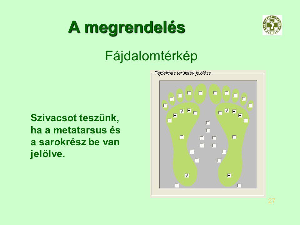 A megrendelés Fájdalomtérkép 27 Szivacsot teszünk, ha a metatarsus és a sarokrész be van jelölve.