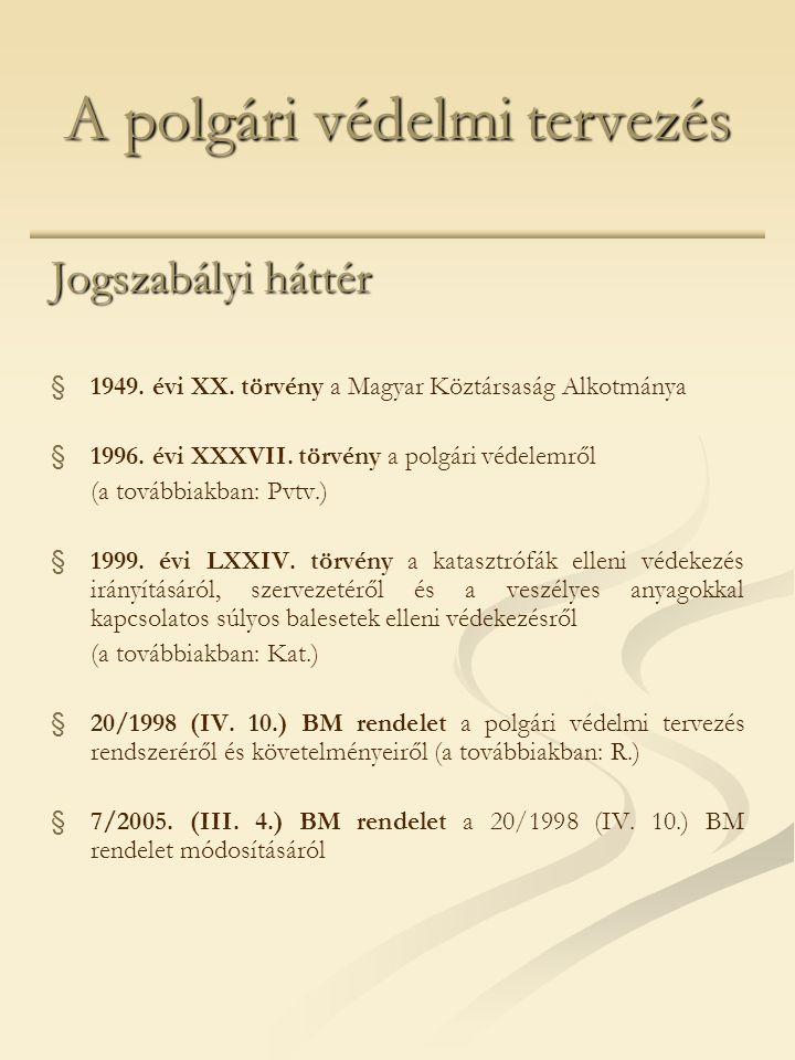 A polgári védelmi tervezés Jogszabályi háttér § §1949. évi XX. törvény a Magyar Köztársaság Alkotmánya § §1996. évi XXXVII. törvény a polgári védelemr