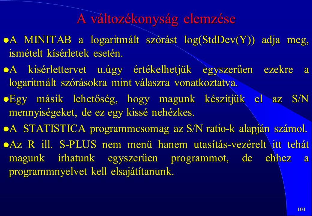101 A változékonyság elemzése l A MINITAB a logaritmált szórást log(StdDev(Y)) adja meg, ismételt kísérletek esetén. l A kísérlettervet u.úgy értékelh