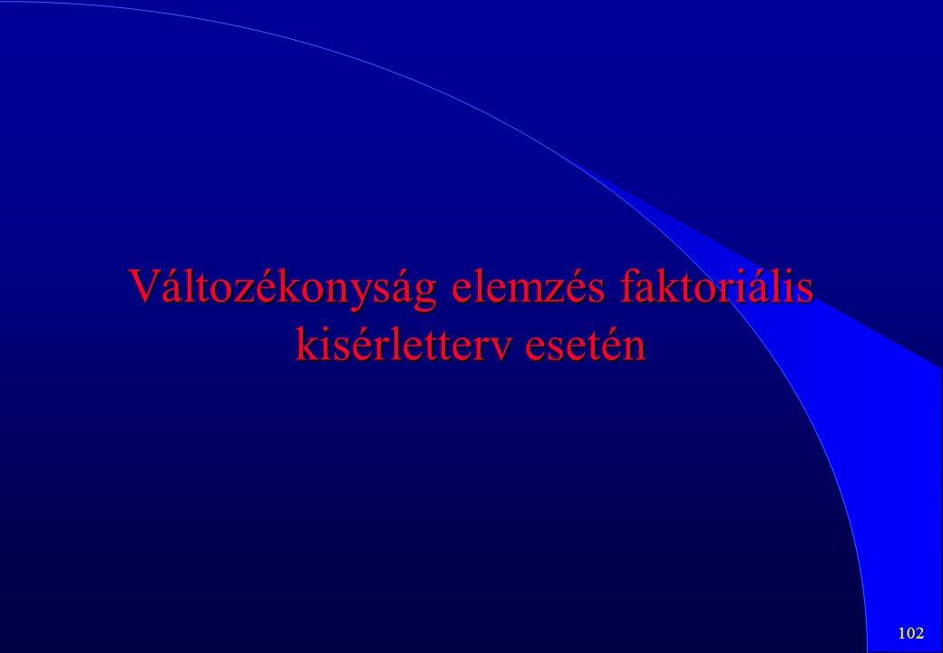 102 Változékonyság elemzés faktoriális kisérletterv esetén