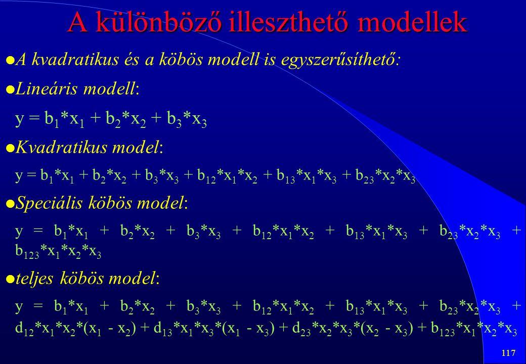 117 A különböző illeszthető modellek l l A kvadratikus és a köbös modell is egyszerűsíthető: l l Lineáris modell: y = b 1 *x 1 + b 2 *x 2 + b 3 *x 3 l