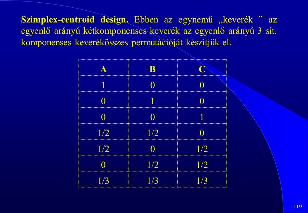 """119 Szimplex-centroid design. Ebben az egynemű """"keverék """" az egyenlő arányú kétkomponenses keverék az egyenlő arányú 3 sít. komponenses keverékösszes"""
