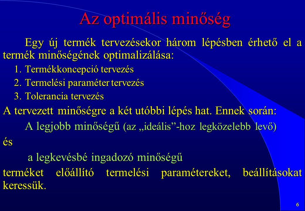 47 Teljes kétszintű faktoriális kísérletterv elkészítése a MINITAB-bal