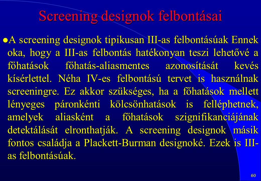 60 Screening designok felbontásai l A screening designok tipikusan III-as felbontásúak Ennek oka, hogy a III-as felbontás hatékonyan teszi lehetővé a