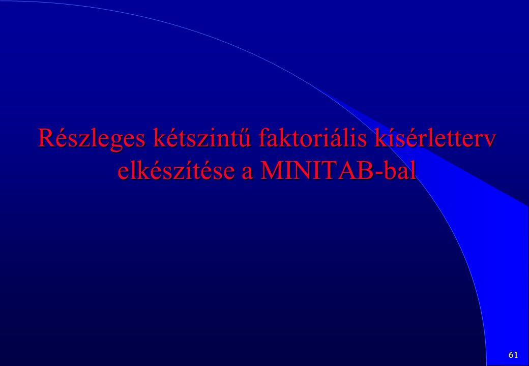 61 Részleges kétszintű faktoriális kísérletterv elkészítése a MINITAB-bal