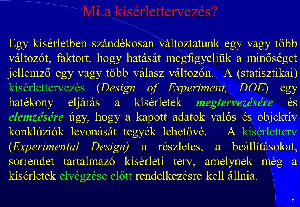 108 Zajok tervezett figyelembevétele l A zajokat is terv szerint generáljuk , szorzatterv pl.L 8 ·L 4 szerint.