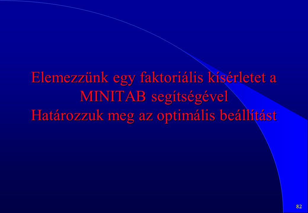 82 Elemezzünk egy faktoriális kísérletet a MINITAB segítségével Határozzuk meg az optimális beállítást