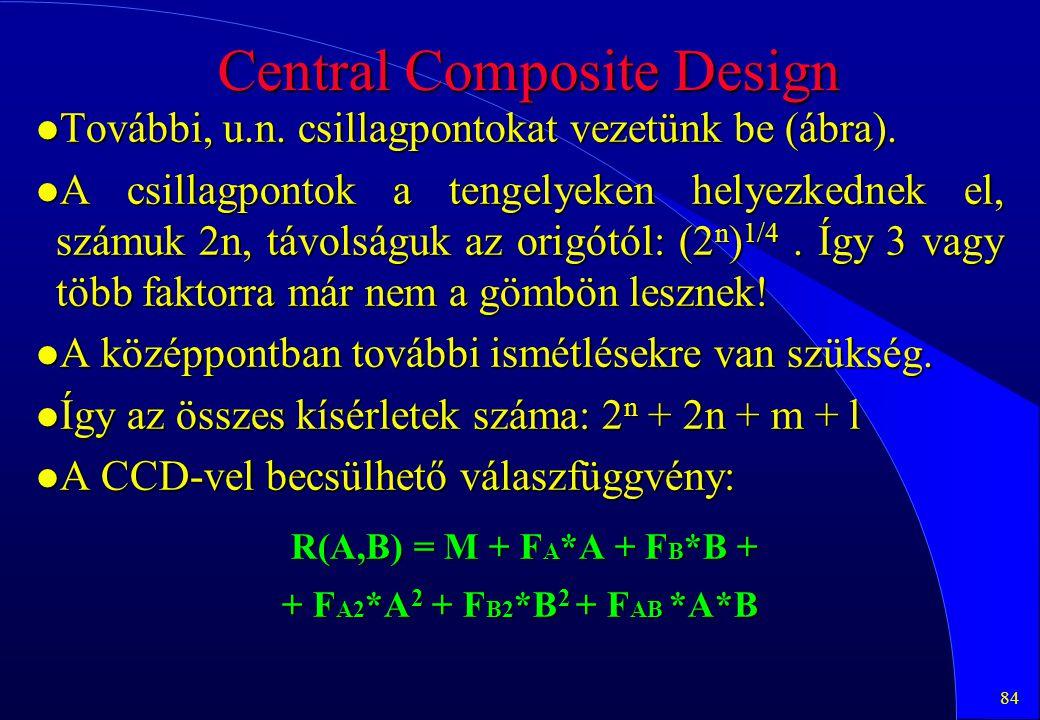 84 Central Composite Design l További, u.n. csillagpontokat vezetünk be (ábra). l A csillagpontok a tengelyeken helyezkednek el, számuk 2n, távolságuk
