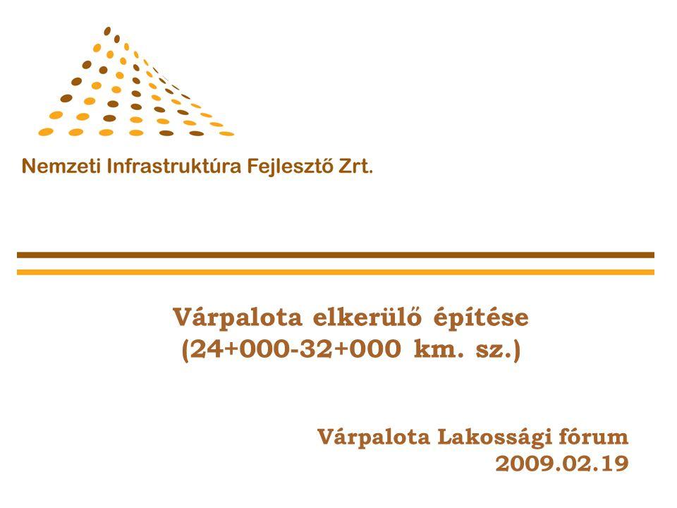 Várpalota elkerülő építése (24+000-32+000 km. sz.) Várpalota Lakossági fórum 2009.02.19 