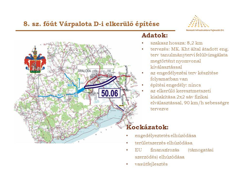 Adatok: • szakasz hossza: 8,2 km • tervezés: MK. Kht által átadott eng. terv tanulmánytervi felülvizsgálata megtörtént nyomvonal kiválasztással • az e