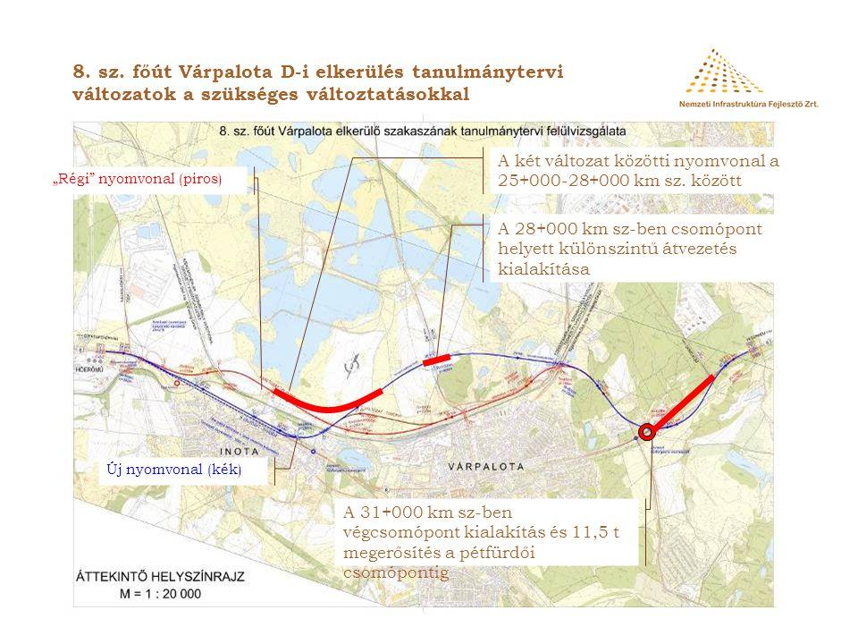 """8. sz. főút Várpalota D-i elkerülés tanulmánytervi változatok a szükséges változtatásokkal """"Régi"""" nyomvonal (piros)  Új nyomvonal (kék)  A két válto"""