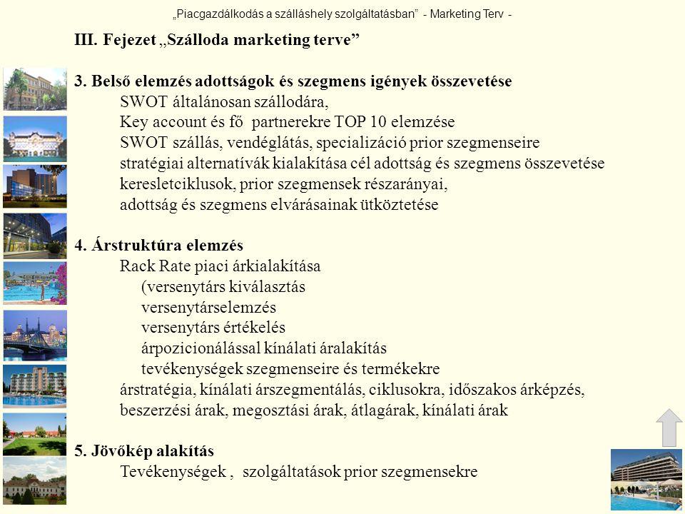 """""""Piacgazdálkodás a szálláshely szolgáltatásban"""" - Marketing Terv - III. Fejezet """"Szálloda marketing terve"""" 3. Belső elemzés adottságok és szegmens igé"""