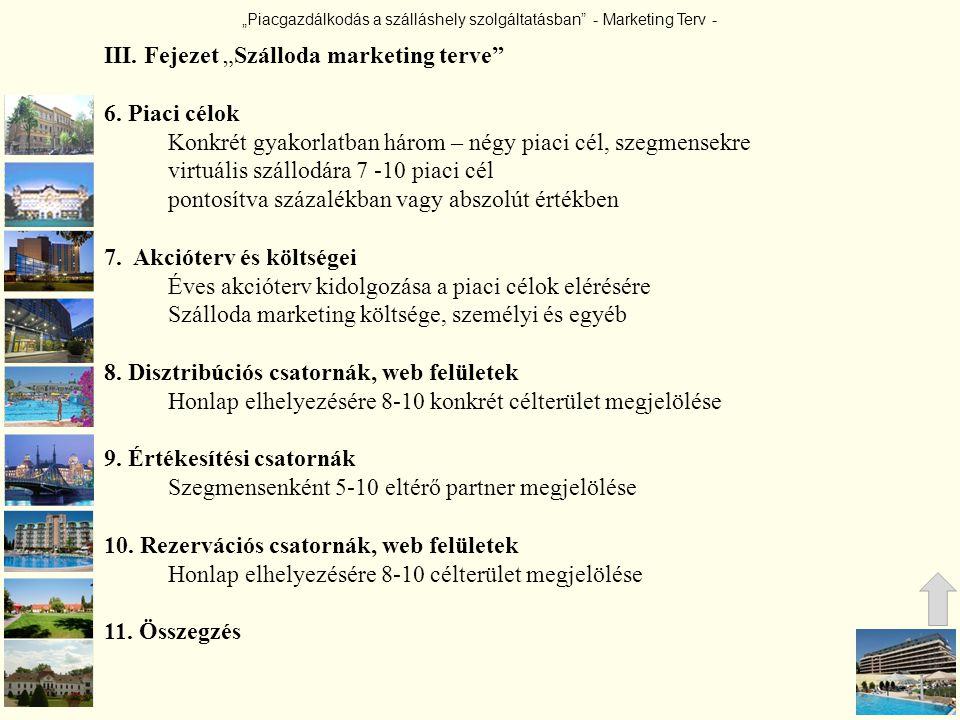 """""""Piacgazdálkodás a szálláshely szolgáltatásban"""" - Marketing Terv - III. Fejezet """"Szálloda marketing terve"""" 6. Piaci célok Konkrét gyakorlatban három –"""