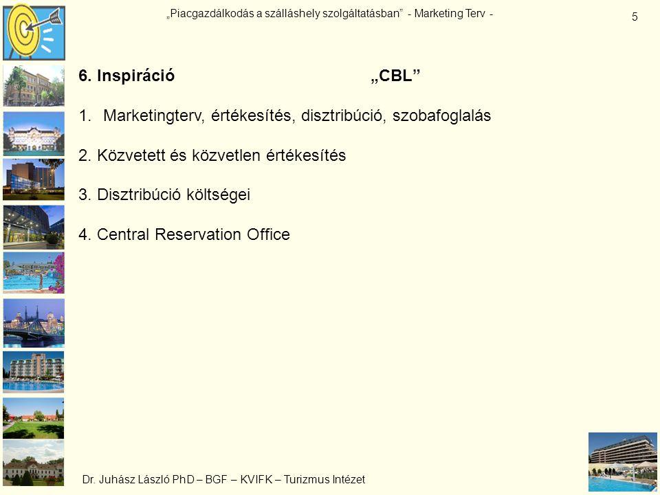 """""""Piacgazdálkodás a szálláshely szolgáltatásban"""" - Marketing Terv - Dr. Juhász László PhD – BGF – KVIFK – Turizmus Intézet 5 6. Inspiráció """"CBL"""" 1.Mark"""