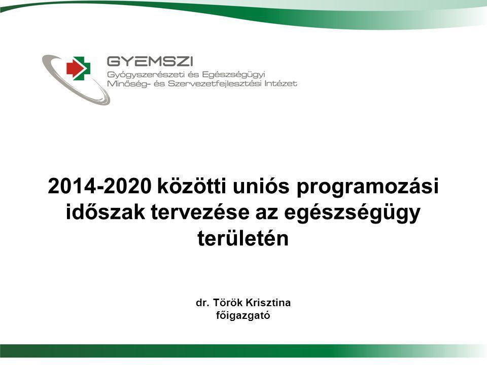 2014-2020 közötti uniós programozási időszak tervezése az egészségügy területén dr. Török Krisztina főigazgató