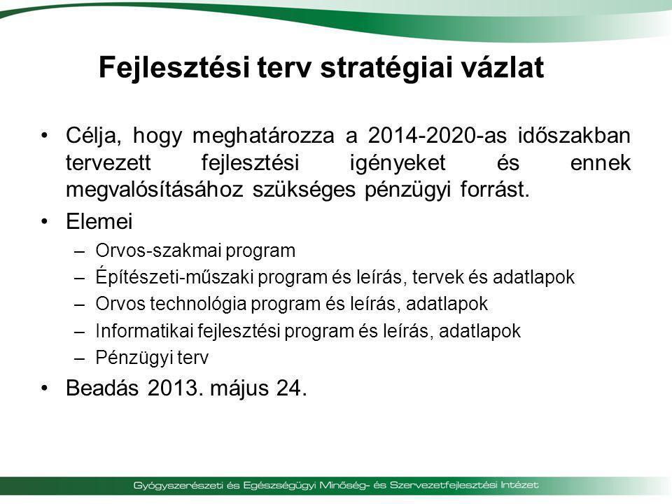 Fejlesztési terv stratégiai vázlat •Célja, hogy meghatározza a 2014-2020-as időszakban tervezett fejlesztési igényeket és ennek megvalósításához szüks