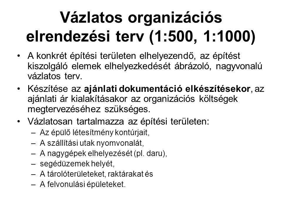 Vázlatos organizációs elrendezési terv (1:500, 1:1000) •A konkrét építési területen elhelyezendő, az építést kiszolgáló elemek elhelyezkedését ábrázol
