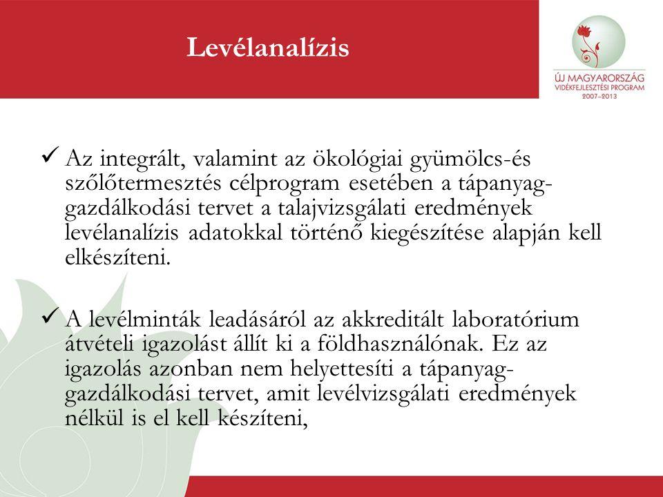 Levélanalízis  Az integrált, valamint az ökológiai gyümölcs-és szőlőtermesztés célprogram esetében a tápanyag- gazdálkodási tervet a talajvizsgálati