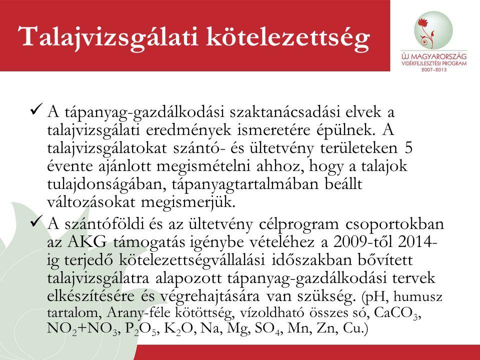 Talajvizsgálati kötelezettség  A tápanyag-gazdálkodási szaktanácsadási elvek a talajvizsgálati eredmények ismeretére épülnek. A talajvizsgálatokat sz