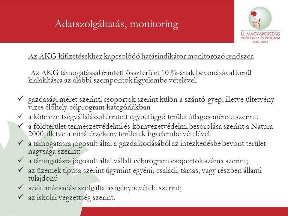 Az AKG kifizetésekhez kapcsolódó hatásindikátor monitorozó rendszer. Az AKG támogatással érintett összterület 10 %-ának bevonásával kerül kialakításra
