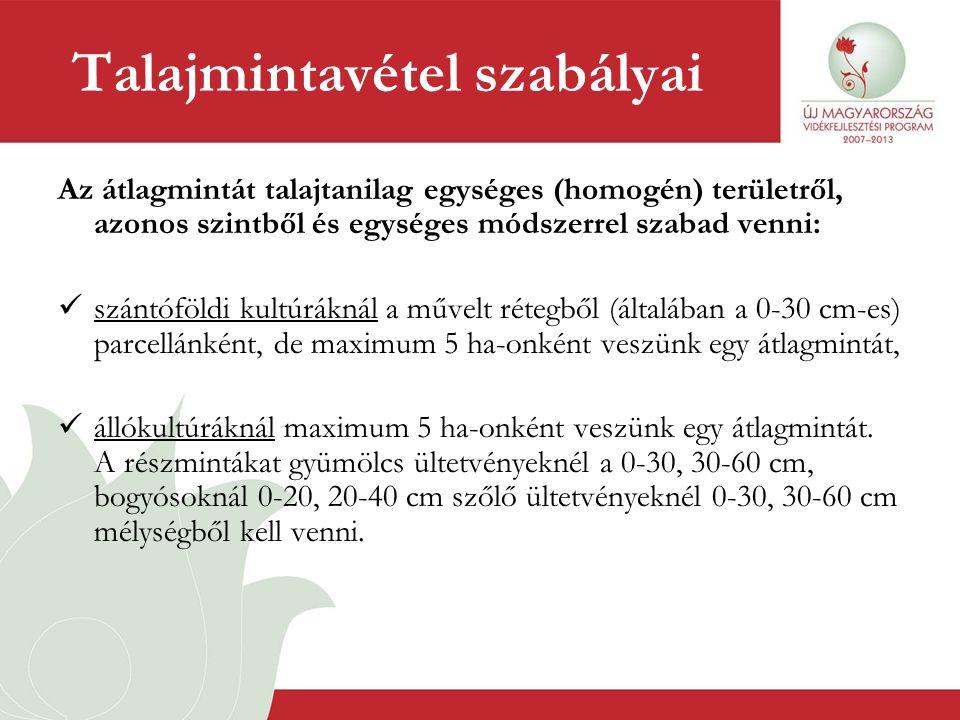 Talajmintavétel szabályai Az átlagmintát talajtanilag egységes (homogén) területről, azonos szintből és egységes módszerrel szabad venni:  szántóföld
