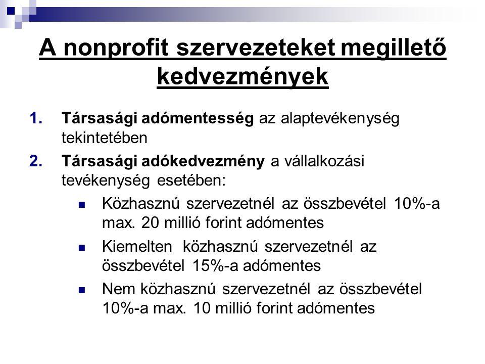 A nonprofit szervezeteket megillető kedvezmények 1.Társasági adómentesség az alaptevékenység tekintetében 2.Társasági adókedvezmény a vállalkozási tevékenység esetében:  Közhasznú szervezetnél az összbevétel 10%-a max.