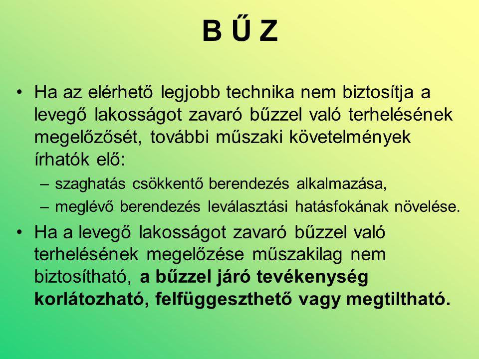 B Ű Z •Ha az elérhető legjobb technika nem biztosítja a levegő lakosságot zavaró bűzzel való terhelésének megelőzősét, további műszaki követelmények í