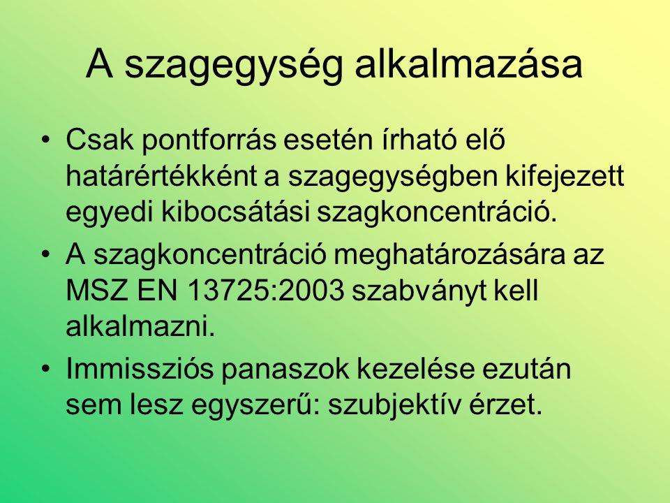A szagegység alkalmazása •Csak pontforrás esetén írható elő határértékként a szagegységben kifejezett egyedi kibocsátási szagkoncentráció. •A szagkonc