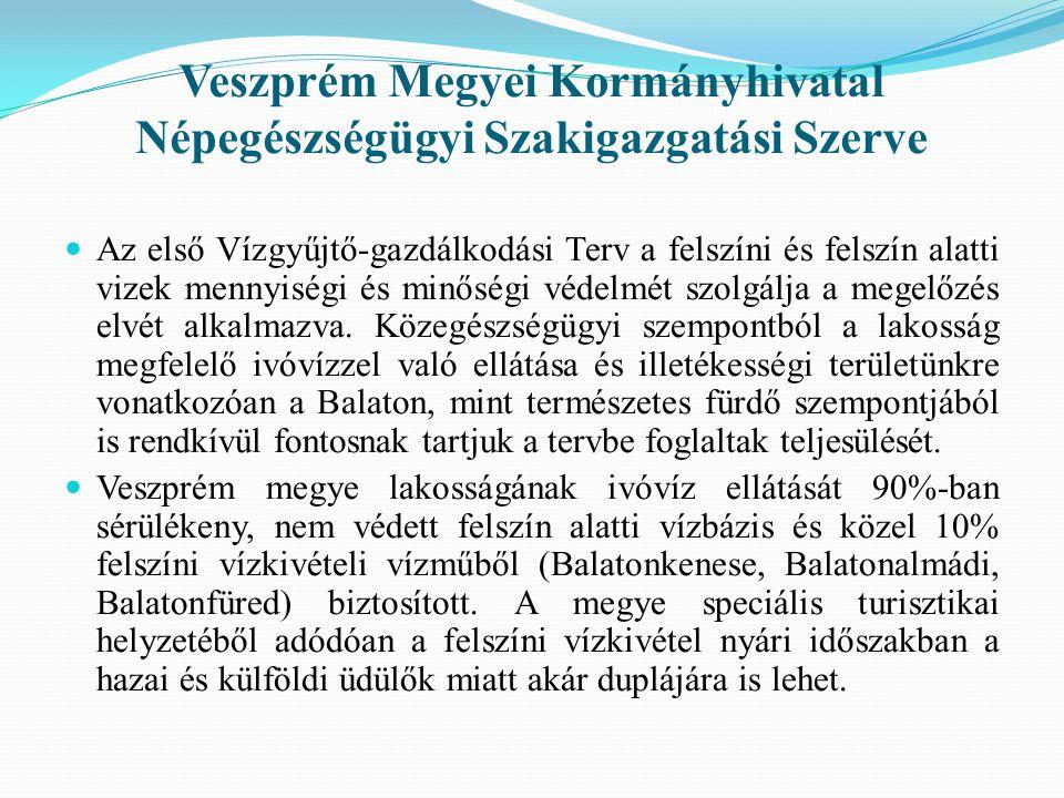 Veszprém Megyei Kormányhivatal Népegészségügyi Szakigazgatási Szerve  Az első Vízgyűjtő-gazdálkodási Terv a felszíni és felszín alatti vizek mennyiségi és minőségi védelmét szolgálja a megelőzés elvét alkalmazva.