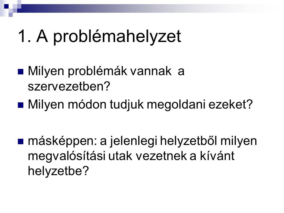 1. A problémahelyzet  Milyen problémák vannak a szervezetben.