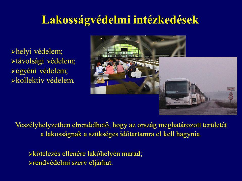 Lakosságvédelmi intézkedések  helyi védelem;  távolsági védelem;  egyéni védelem;  kollektív védelem. Veszélyhelyzetben elrendelhető, hogy az orsz