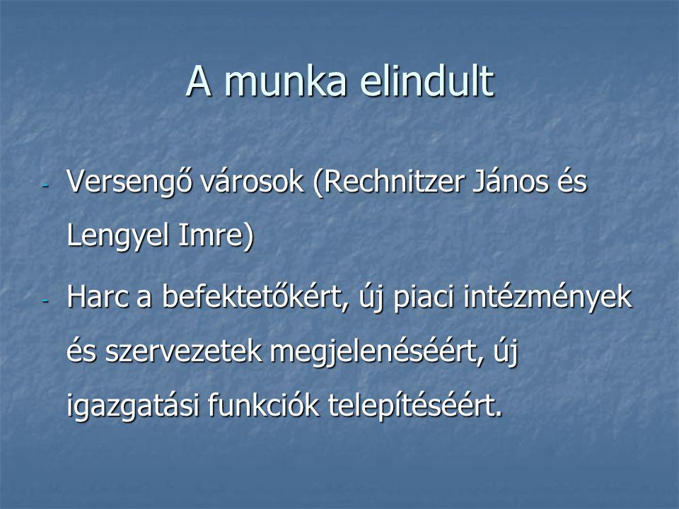 A munka elindult - Versengő városok (Rechnitzer János és Lengyel Imre) - Harc a befektetőkért, új piaci intézmények és szervezetek megjelenéséért, új igazgatási funkciók telepítéséért.